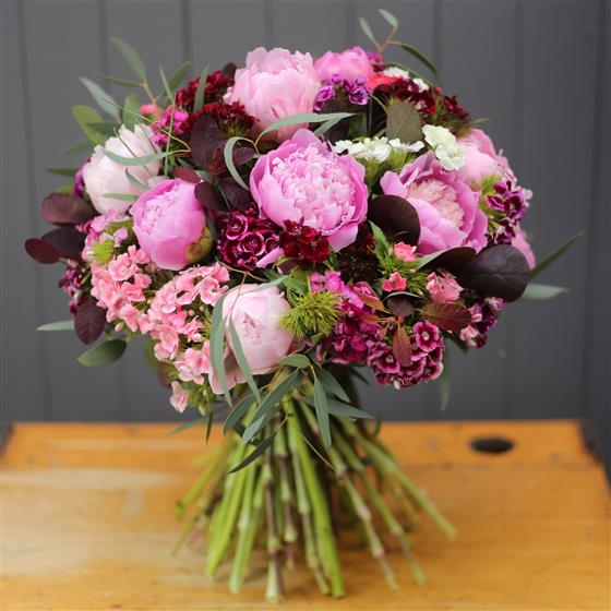 Pink Peonies and Sweet Williams Summer Bouquet