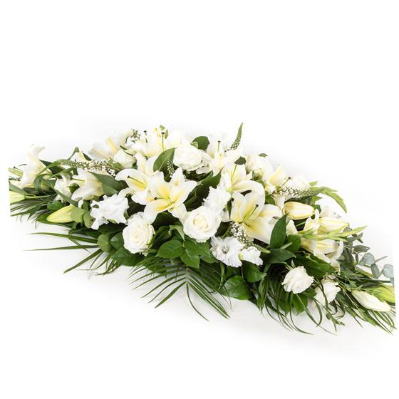 White Lily & Rose Casket Spray